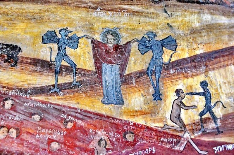 Fresque mural antique en Roumanie photos libres de droits