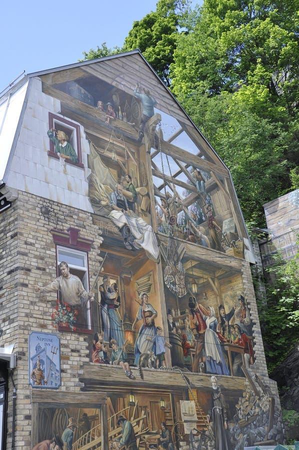 Fresque på Rue du Petit Champlain från gamla Quebec City i Kanada arkivfoto