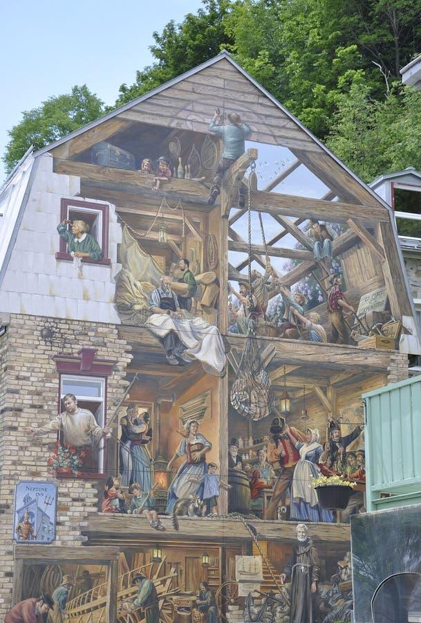 Fresque på Rue du Petit Champlain från gamla Quebec City i Kanada arkivbilder