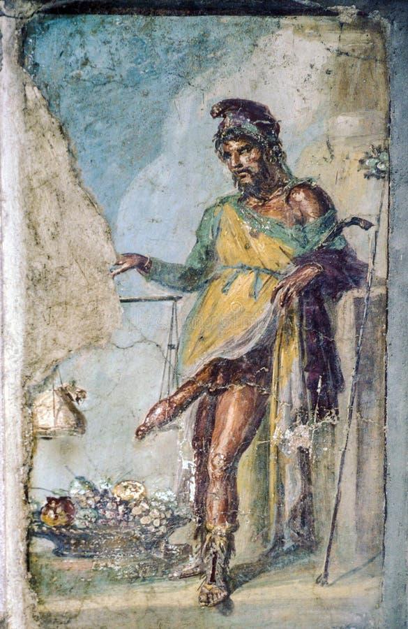 Fresque romain antique du dieu romain du PRI de fertilité et de convoitise photographie stock