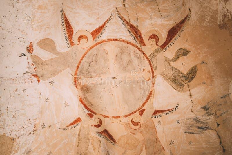 Fresques antiques dans des murs des cavernes de David Gareja Monastery Complex Le monastère de Gareji de davier est localisé est  photographie stock