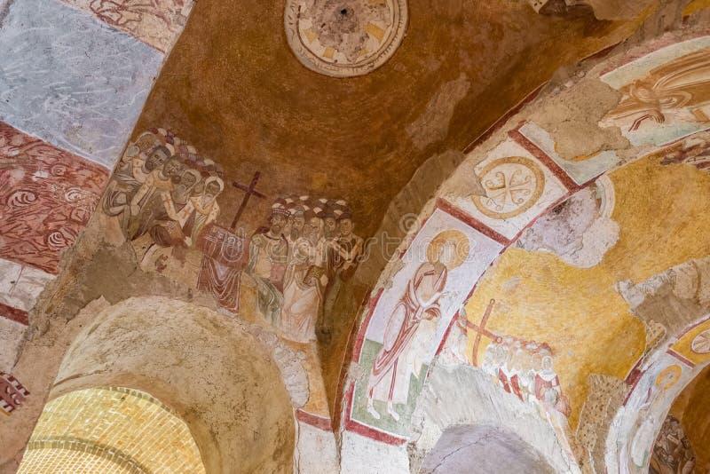 Fresques antiques dans le St Nicholas Church dans Demre, Turquie photo stock