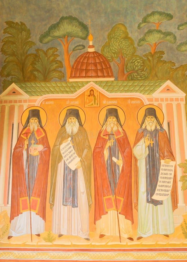 Fresques antiques sur les murs du monastère photos stock