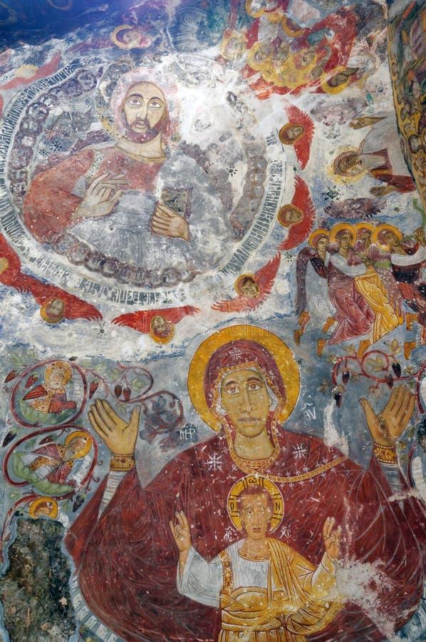 Fresques dans le monastère de Sumela, Turquie images libres de droits
