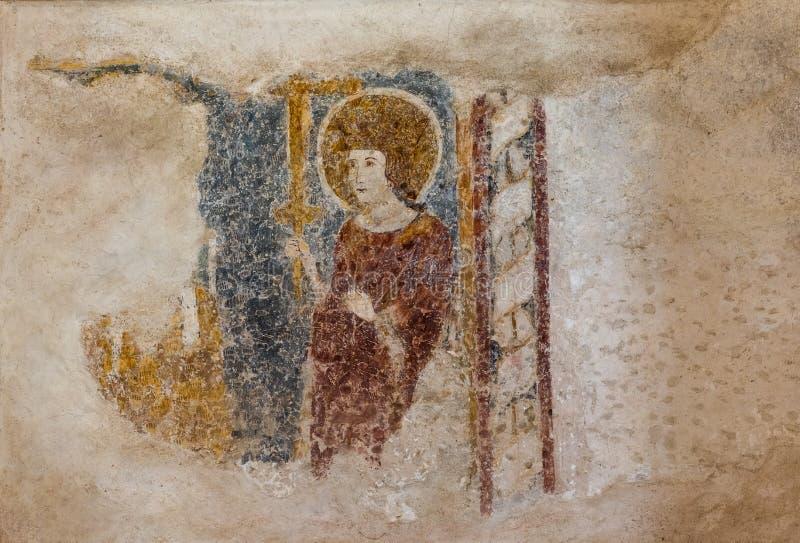 Fresques de style gothique sur les murs de la basilique Euphrasienne de Porec, site classé au patrimoine mondial de l'UNESCO, Cro image stock