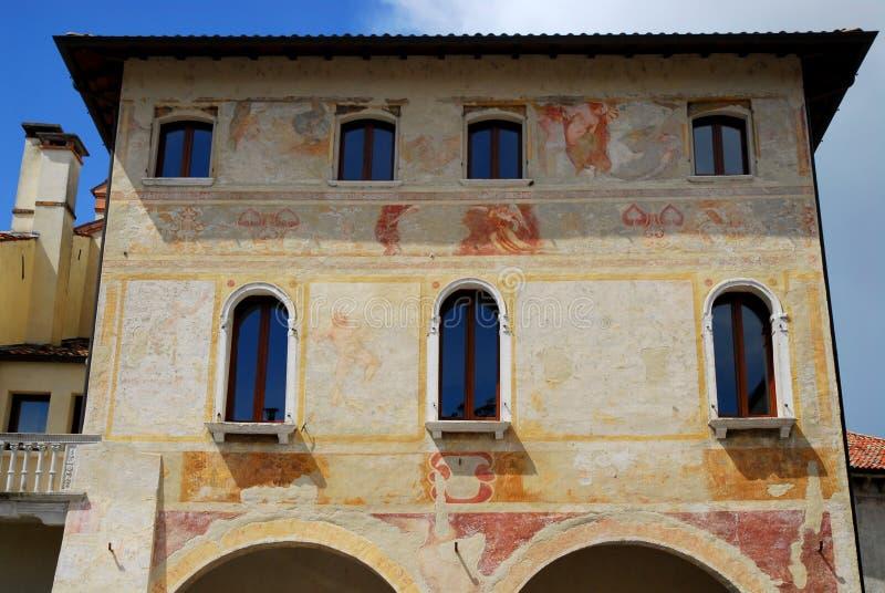 Fresques historiques de palais dans Portobuffolè dans la province de Trévise en Vénétie (Italie) images stock