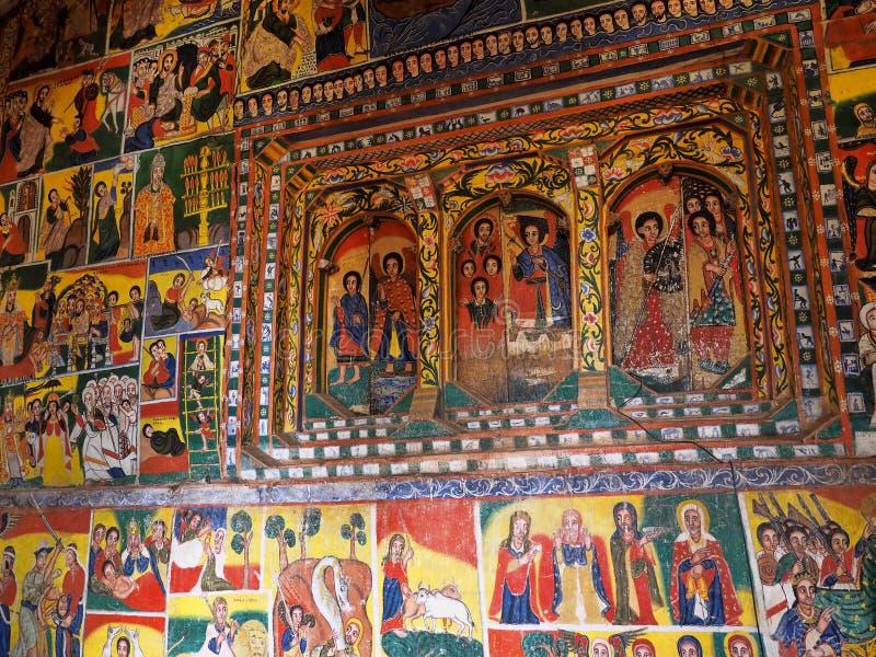 Fresques religieux sur les murs du monastère de Tana Haik Asus United sur le lac Tana en Ethiopie photos stock