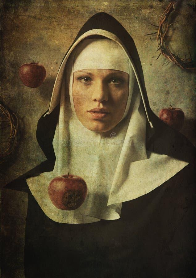 Frestelsen att synda nunnor royaltyfria bilder