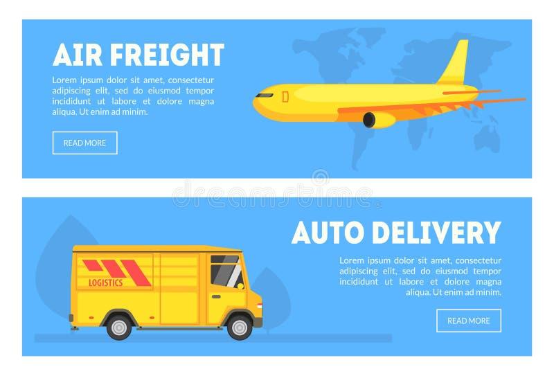 Fret aérien, ensemble horizontal de bannières de la livraison automatique, transport de expédition commercial, vecteur de chemine illustration stock
