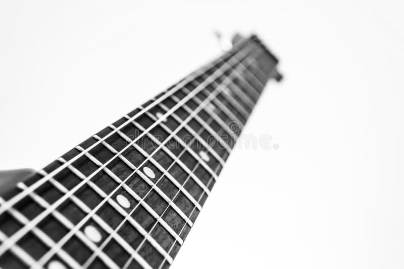 Fretboard B&W för elektrisk gitarr royaltyfri bild