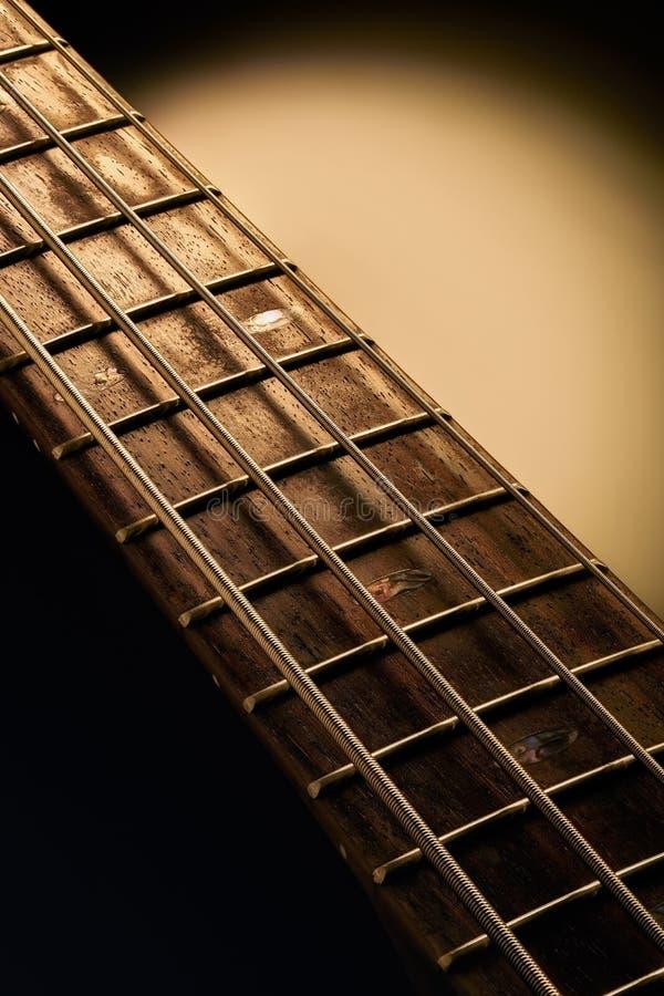 Fretboard y secuencias de la guitarra baja foto de archivo libre de regalías