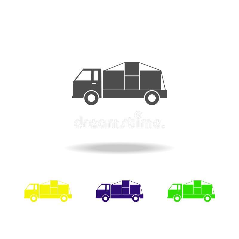 frete com ícones coloridos das caixas Sinais e ícone para Web site, design web da coleção dos símbolos, app móvel no fundo branco ilustração do vetor