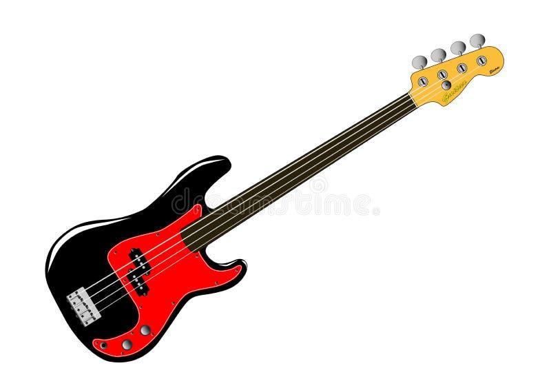 Fretless Bass Guitar op Witte Achtergrond vector illustratie