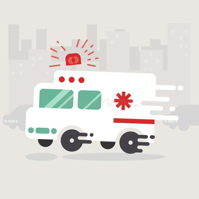Fretta dell'automobile dell'ambulanza da andare Illustrazione medica illustrazione vettoriale