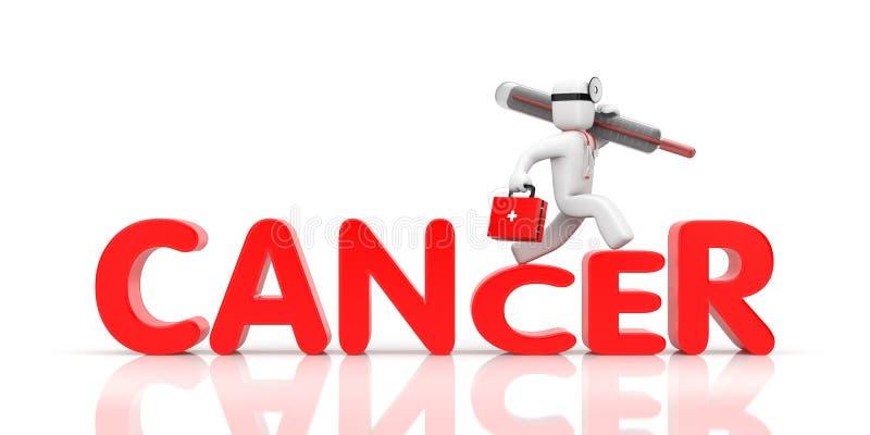 Fretta di medico alle lotte con cancro illustrazione di stock