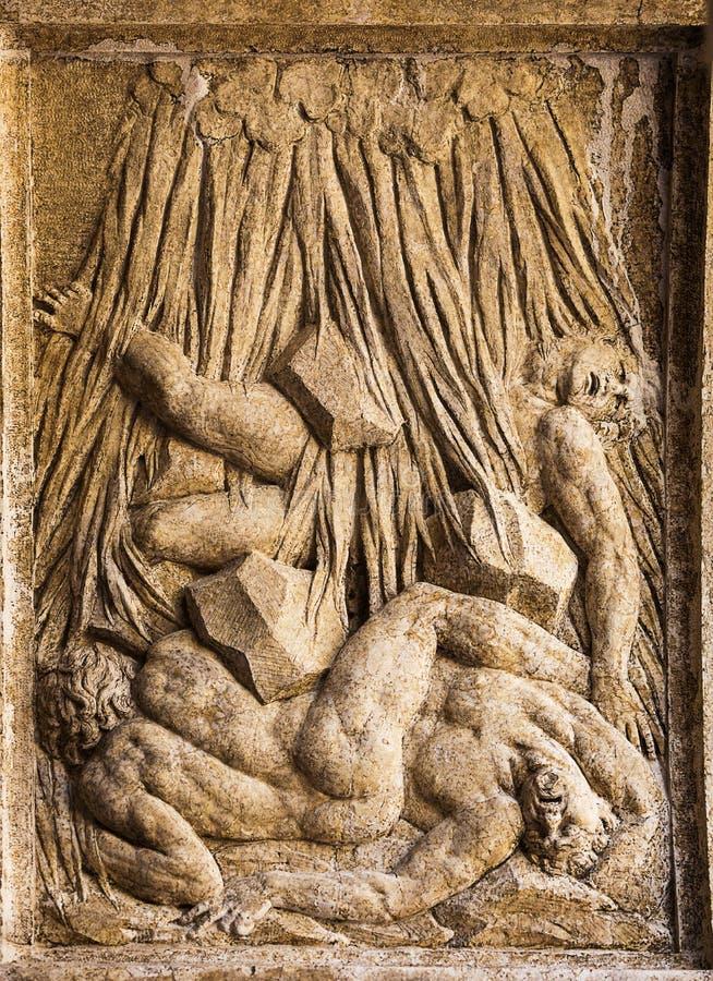Fretwork decorated arch. Of Biblioteca Marciana. Venice. Italy royalty free stock photography