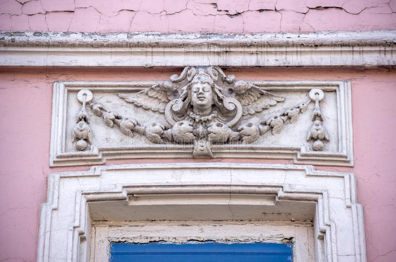 Old fretwork elements. Fretwork elements at the 19th-century residential building stock photo