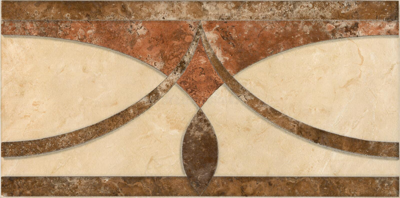 Fretwork tile brown and beige. Greek roman style royalty free stock photos