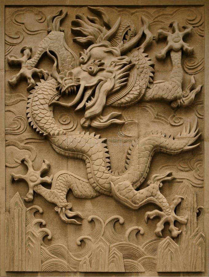Fretwork w postaci smoka na ścianie w Niedozwolonym mieście Pekin, fotografia royalty free