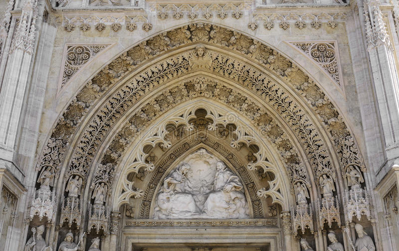 Fretwork on the walls of the cathedral. Close-up stock photos