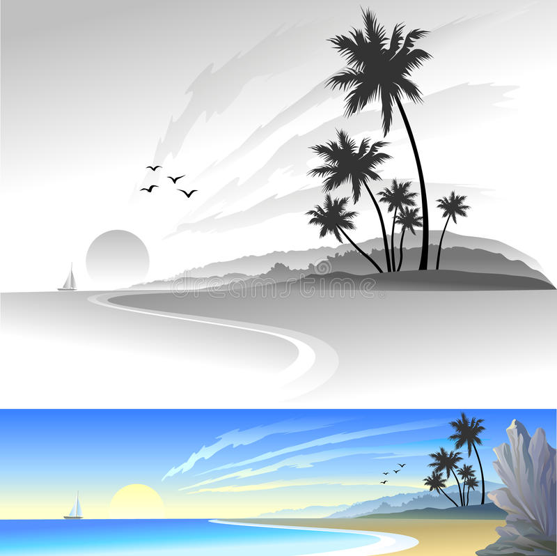 Freude auf dem Strand lizenzfreie abbildung