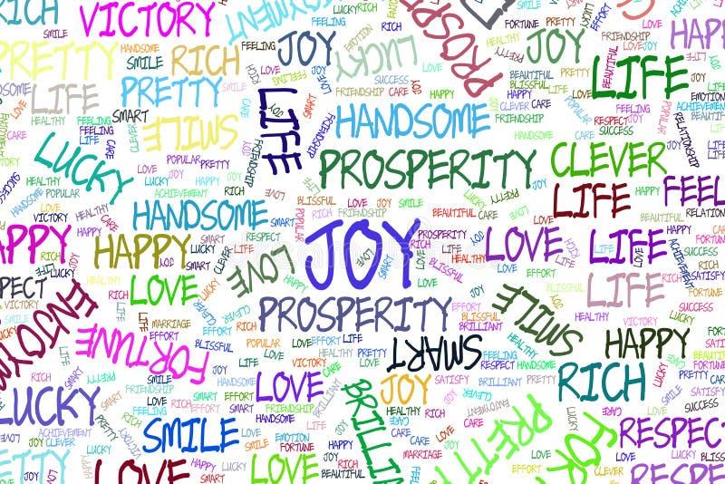 Freude, die positive Gefühlwortwolkenillustrations-Hintergrundzusammenfassung, Hand gezeichnet Farbe, Schablone, Details u. Vekto lizenzfreie abbildung