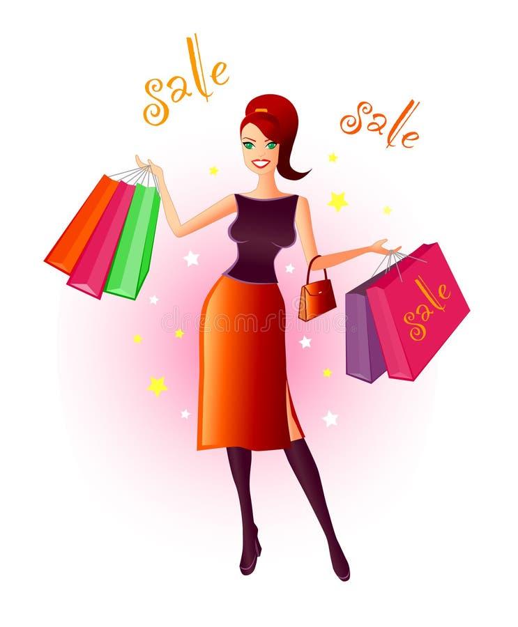 Freude am Einkaufen lizenzfreie abbildung