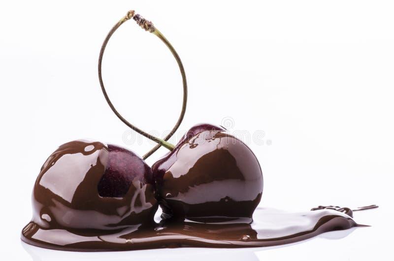 Freude zum cilegia mit dunkler Schokolade stockbilder