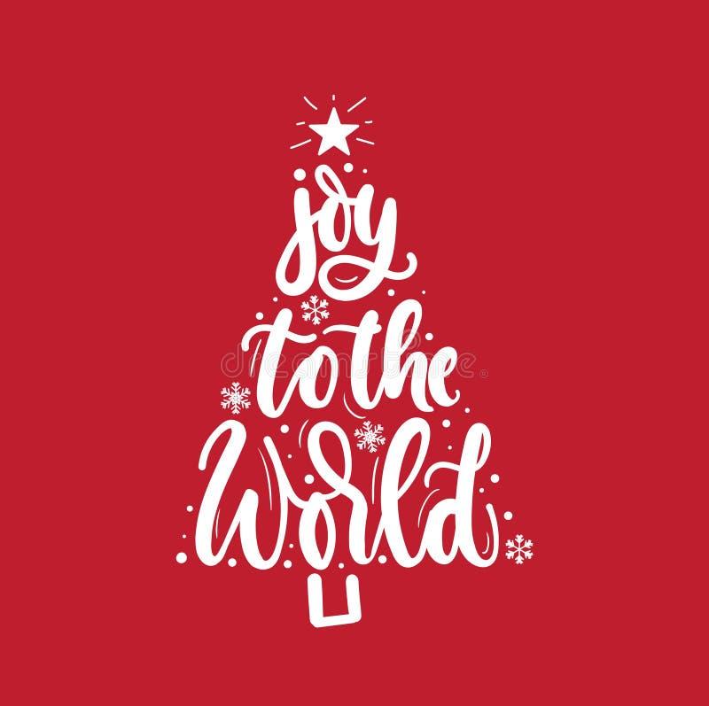 Freude zur Weltinspirierend Weihnachtsgrußkarte mit Beschriftung und Weihnachtsbaum Modisches Weihnachts- und des neuen Jahresdru lizenzfreie abbildung