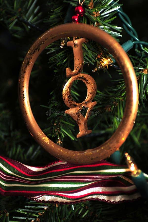 Freudenverzierung auf Weihnachtsbaum lizenzfreies stockfoto