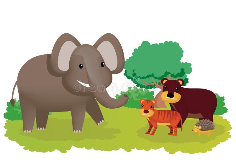 Freudig erregt Elefant und seine Freunde tragen, Tiger und Igeles vektor abbildung