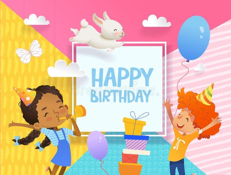 Freudiger Junge und Mädchen in den Geburtstagshüten springen glücklich Vector Illustration einer alles- Gute zum Geburtstaggruß-K lizenzfreie abbildung