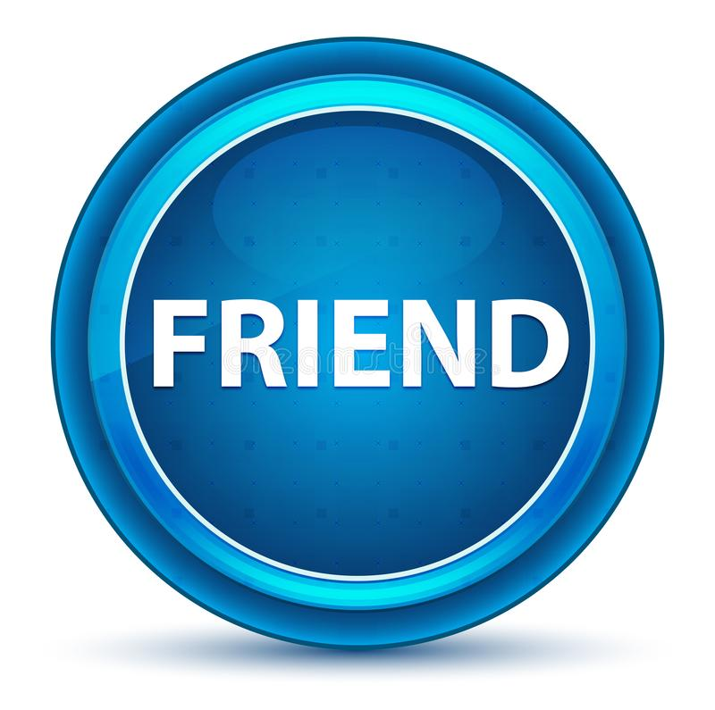 Freund-Augapfel-blauer runder Knopf stock abbildung