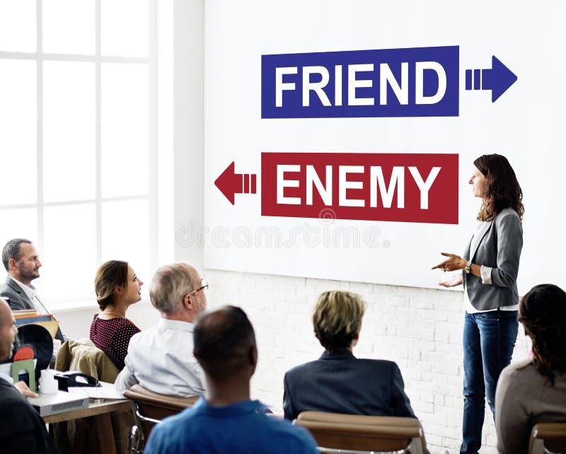 Freund-Feind gegenüber von Gegner-Dilemma-Wahl-Konzept stockbilder