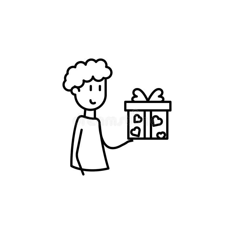 Freund gibt eine Geschenkikone Element der Freundschaftsikone für bewegliche Konzept und Netz apps Dünne Linie Freund gibt eine G lizenzfreie abbildung