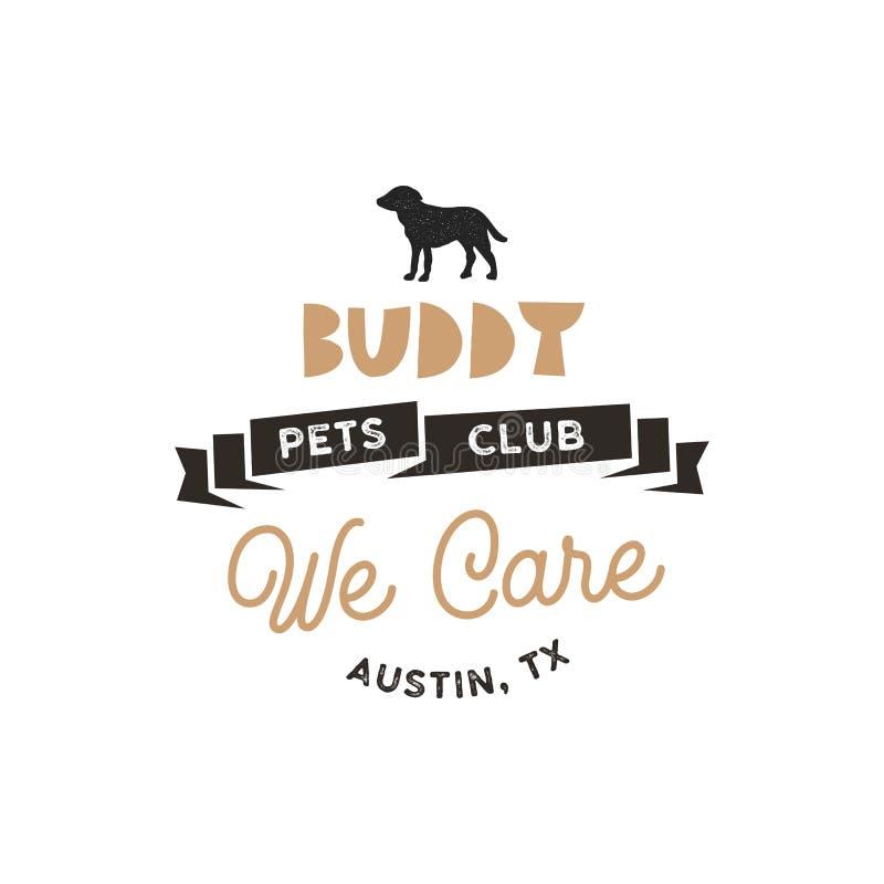 Freund, Haustierclub-Logoschablone Haustierschattenbild-Aufkleberillustration lokalisiert auf weißem Hintergrund Moderner Tieraus lizenzfreie abbildung