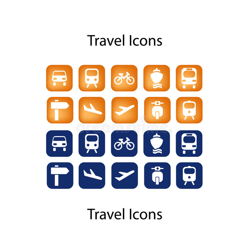 Freund-Reisen-Ikonen IKONEN-SET vektor abbildung