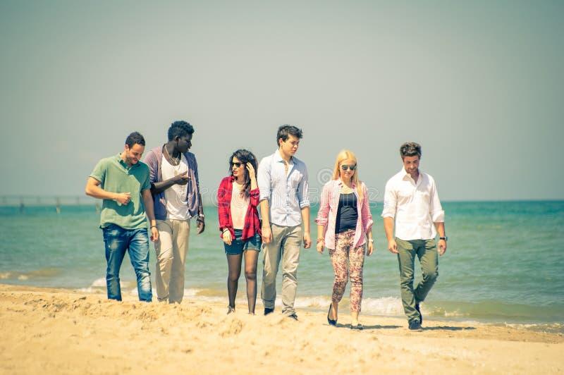 Freunde auf dem Strand stockbild