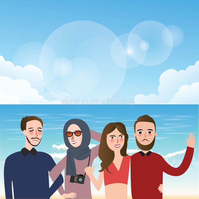 Freunde, die das Foto zusammen trägt Schleierspaß auf Strandillustration machen vektor abbildung