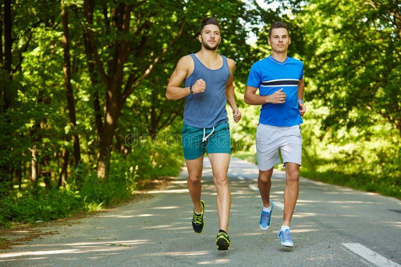 Freunde, die durch Wald laufen stockbilder