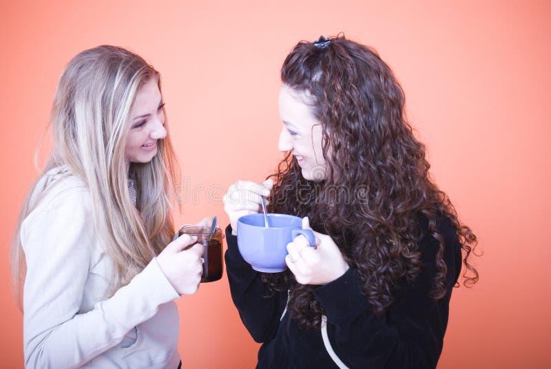 Freunde, die ein Getränk essen lizenzfreies stockbild