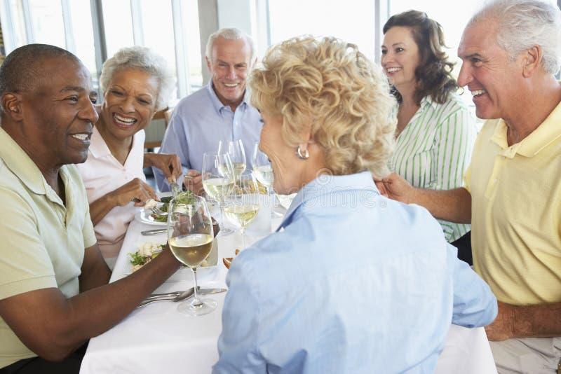 Freunde, die an einer Gaststätte zu Mittag essen lizenzfreie stockbilder
