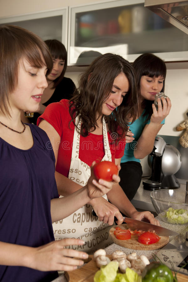 Freunde, die zusammen kochen lizenzfreies stockbild