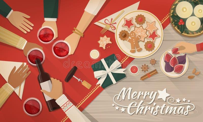 Freunde, die zusammen Weihnachten feiern lizenzfreie abbildung