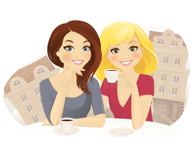 Freunde im Café stock abbildung