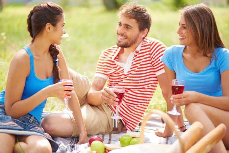 Freunde mit Wein stockfotos