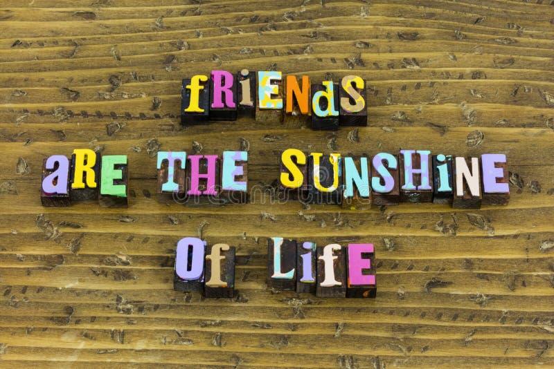 Freunde Sonnenschein Leben Liebe Freundschaft Freundlichkeit Freund Freundlichkeit lizenzfreies stockbild