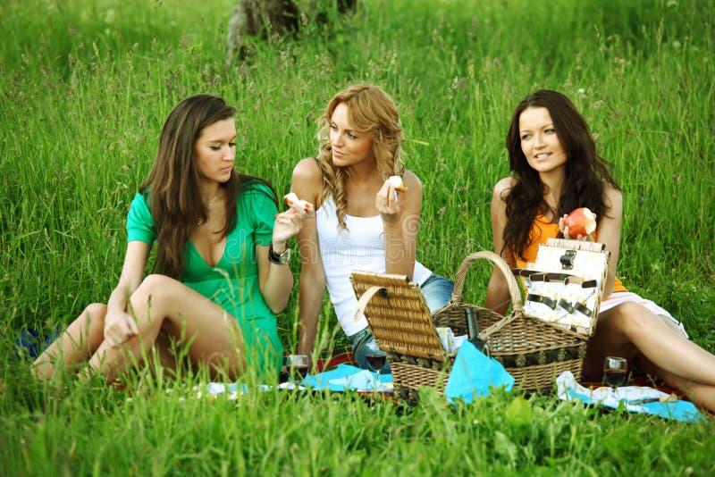 Freundinnen auf Picknick stockfoto