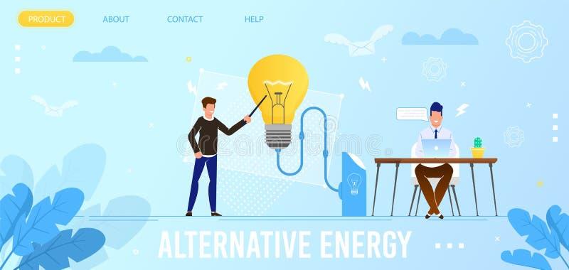 Freundliche alternative Energie-flache Landungs-Seite Eco vektor abbildung