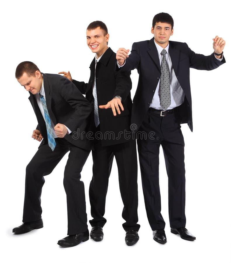Freundliche drei junge Geschäftsmänner lizenzfreies stockbild